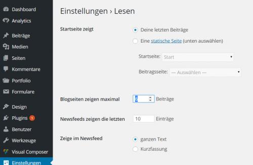 WordPress Dynamische Startseite