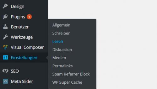 WordPress Einstellungen Lesen