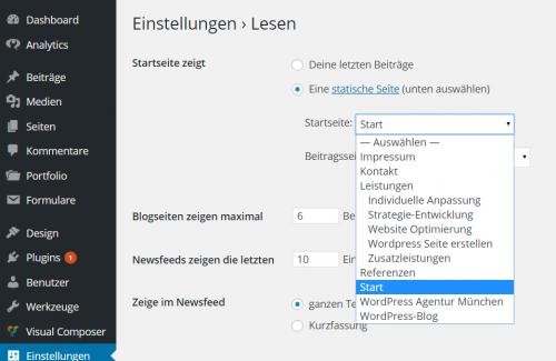 WordPress Statische Startseite