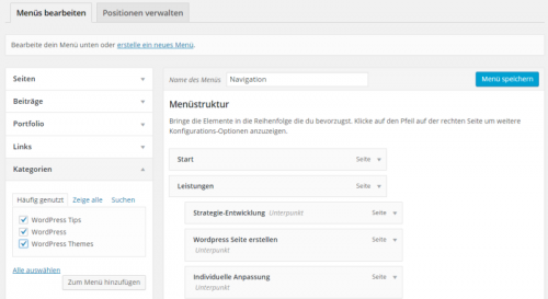 WordPress Menü anlegen