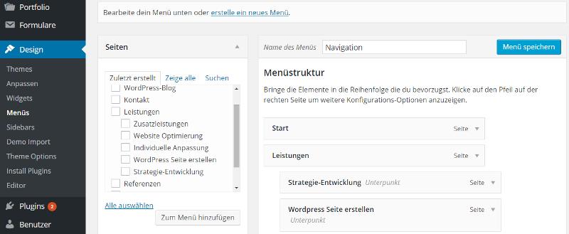 WordPress Menü bearbeiten