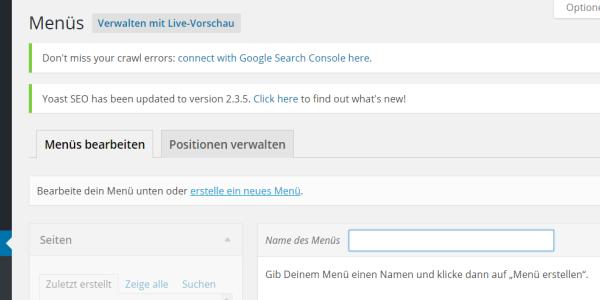 WordPress Menü erstellen