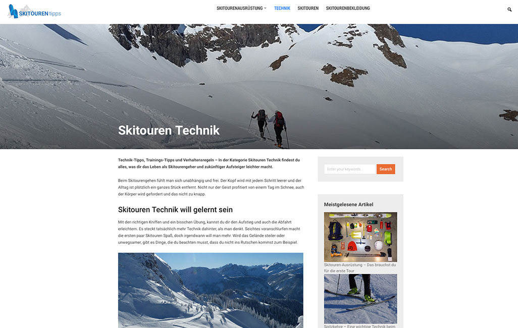 Skitouren Blog WordPress
