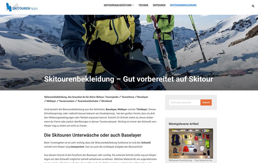 Skitouren-Tipps: WordPress-Bog in Kooperation mit SportScheck