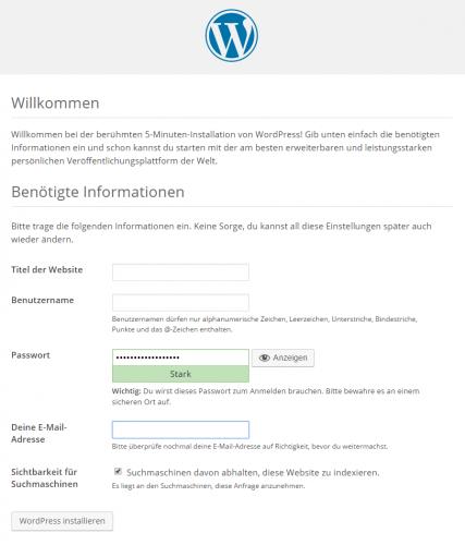 WordPress installieren - Startbildschirm