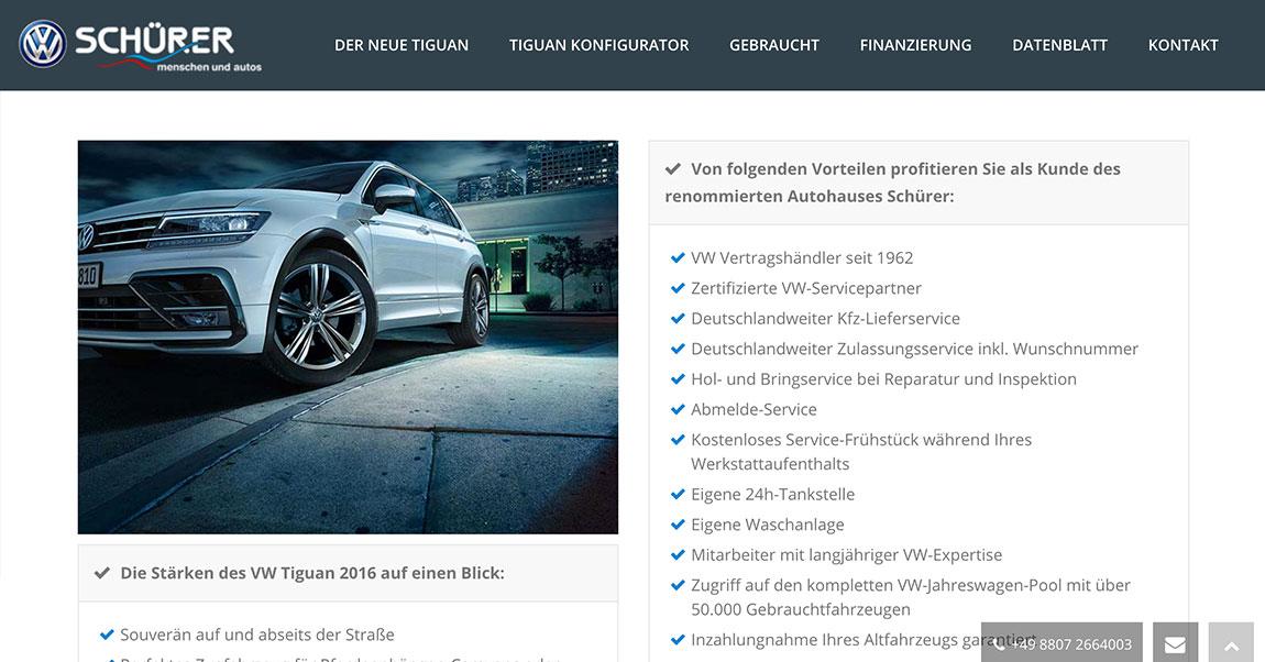 Autohaus Schürer WordPress Programmierung