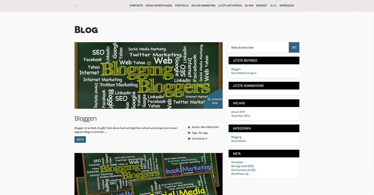 Bernhard Mairhofer Erstellung eines WordPress Blogs