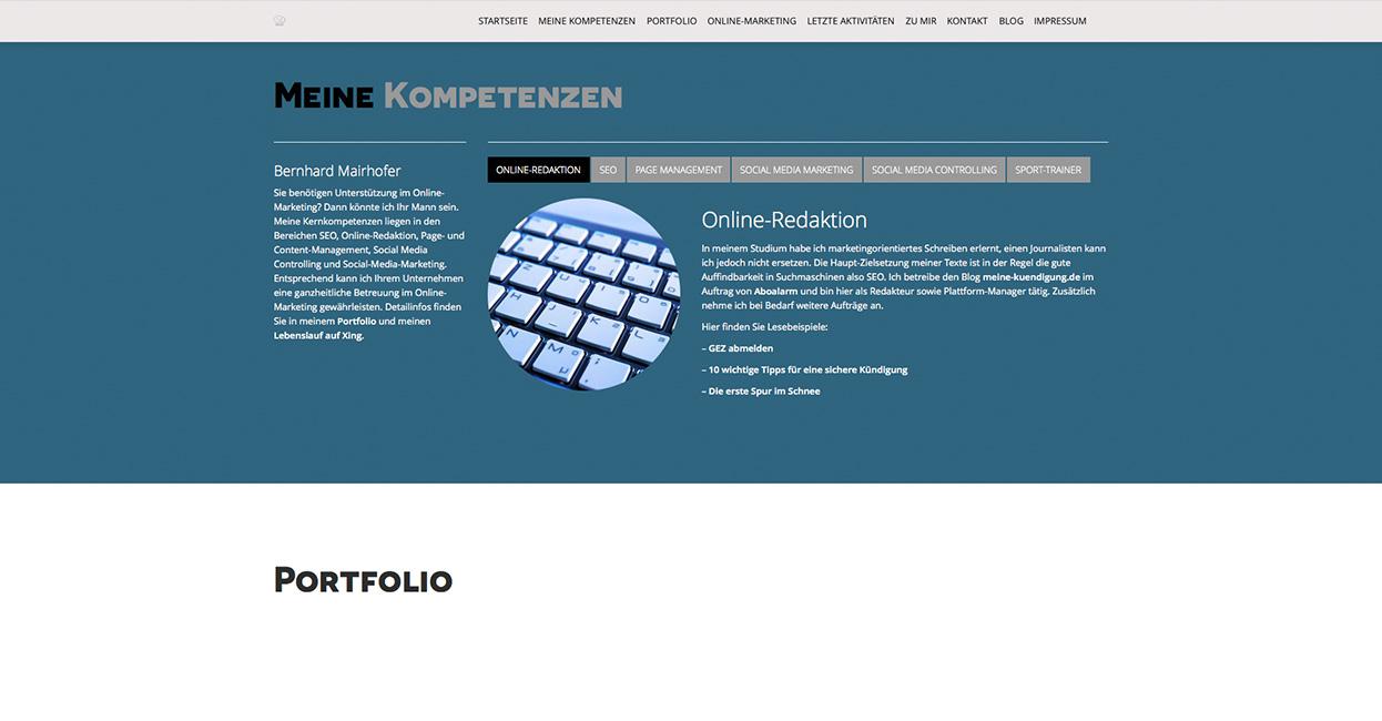 Erstellung einer WordPress Webseite für Bernhard Mairhofer