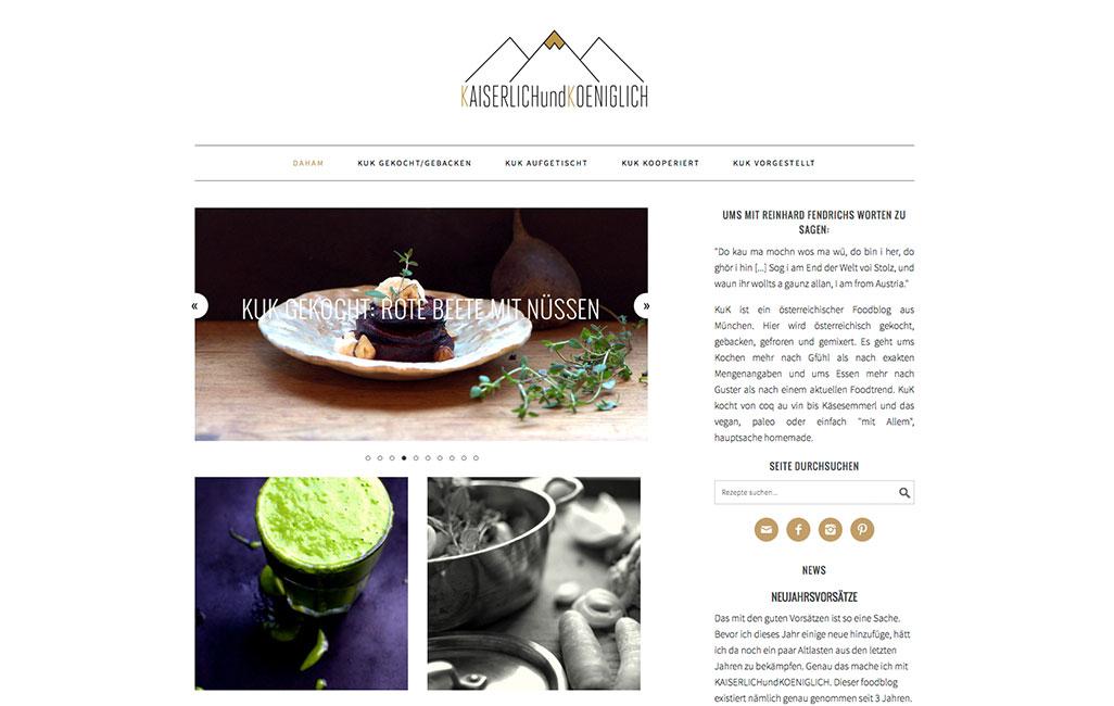 kaiserlichundkoeniglich.de Foodblog WordPress Startseite