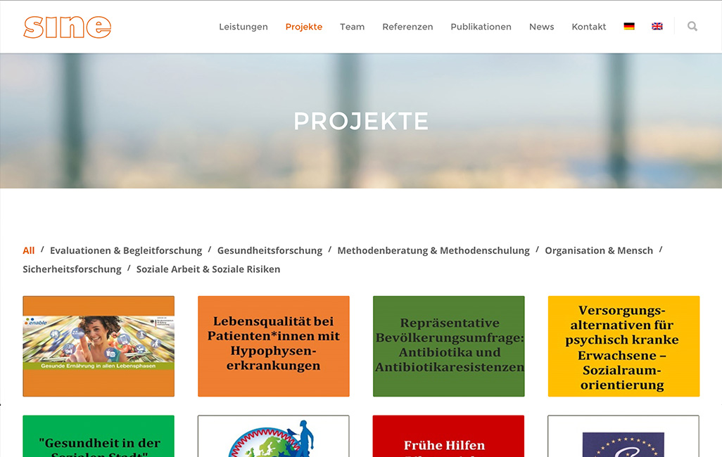 WordPress Webseite Sine Institut Portfolio Projekte