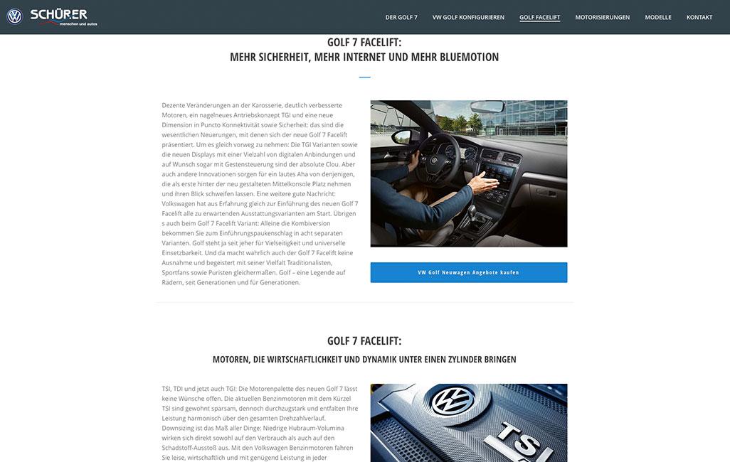 VW Onepager Wordpress erstellen