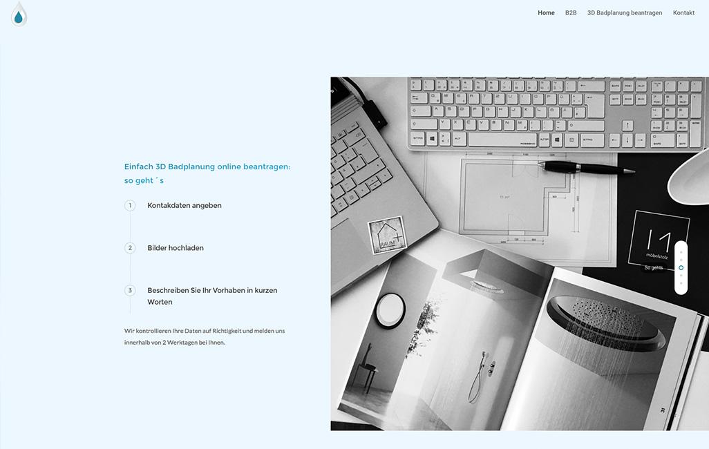 WordPress Onepager 3D Badplanung