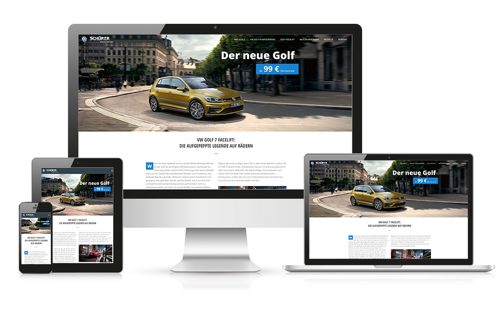 WordPress Webseite erstellen - Beispiel VW Golf