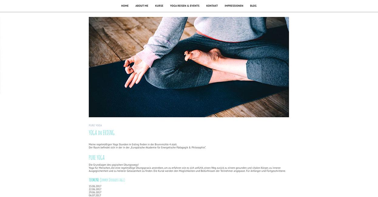 Yogakurse WordPress Darstellung