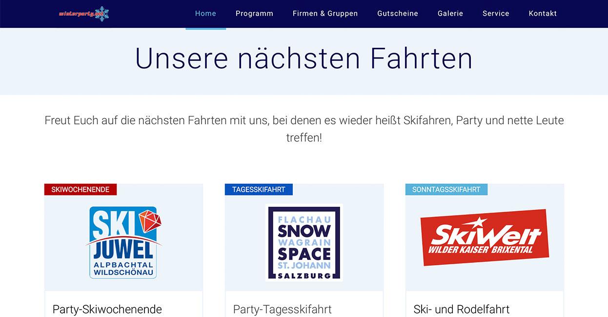 Eventübersicht Wordpress Winterparty