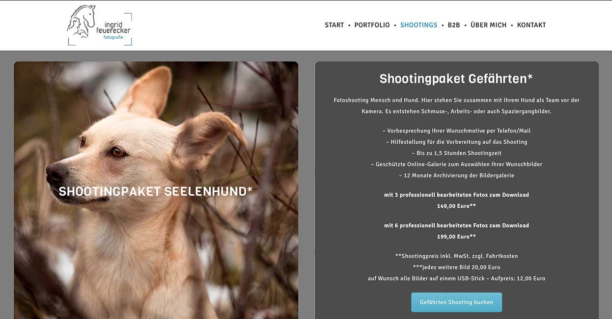 München Fotograf online Visitenkarte