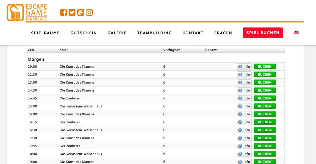 Escapegame Innsbruck Buchungssystem