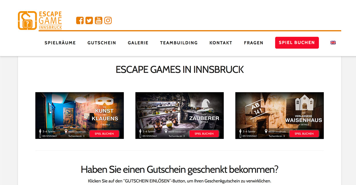Escapegame Innsbruck WordPress