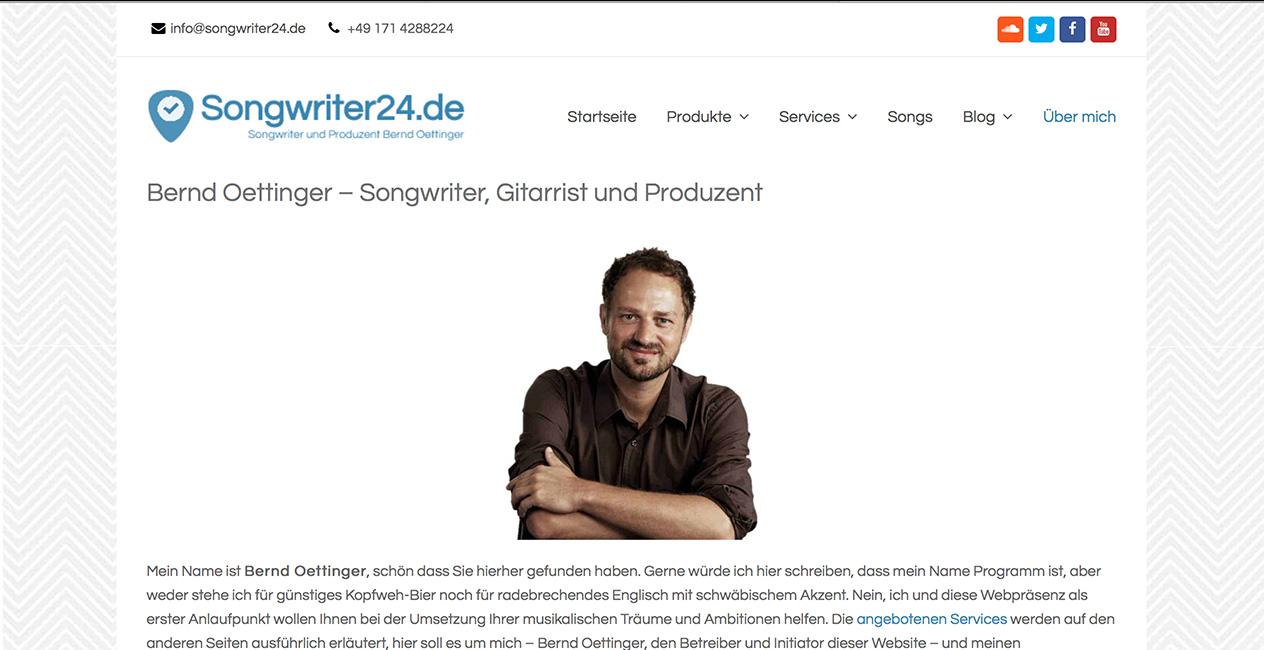 Songwriter WordPress Webseite