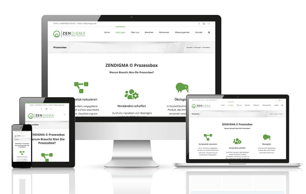 Zendigma Prozessboxen Landingpage