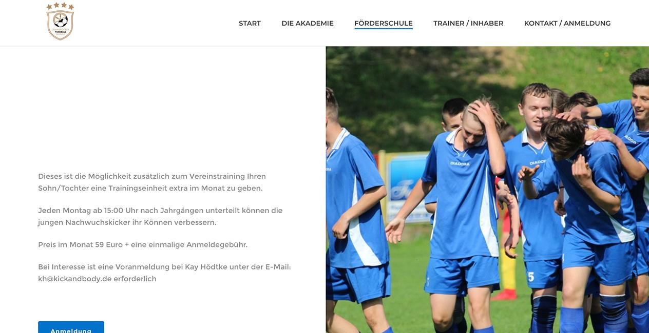 Fussballakademie Osnabrueck Webseite erstellen