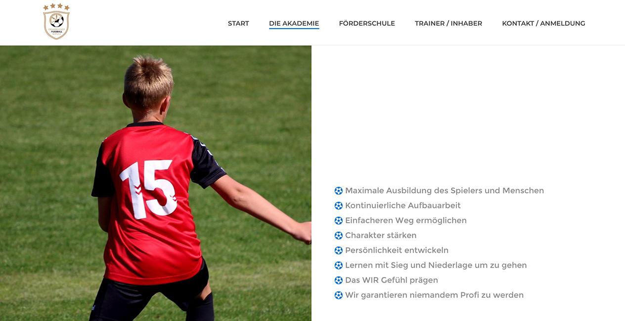 Wordpressseite Fussballakademie Muenchen