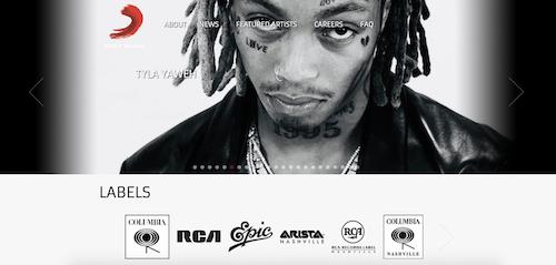 Beispiel WordPress Webseite sony music
