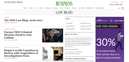 Beispiel WordPress Webseite Wall Street Journal Blog